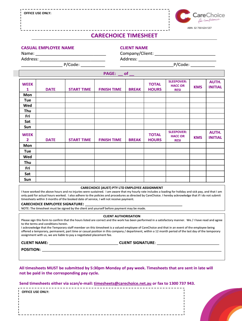 Get And Sign Carechoice Timesheet Form