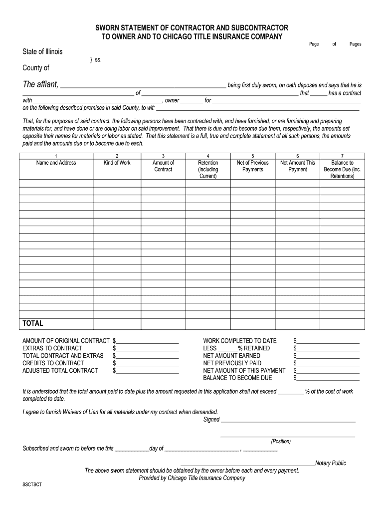 Get And Sign Chicago Title Contractors Statement Form