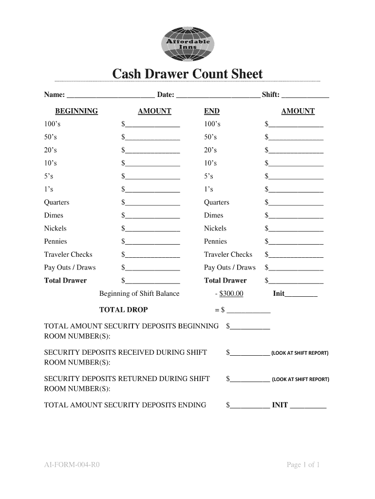 Cash Drawer Count Sheet Fill Out And Sign Printable Pdf Template Signnow