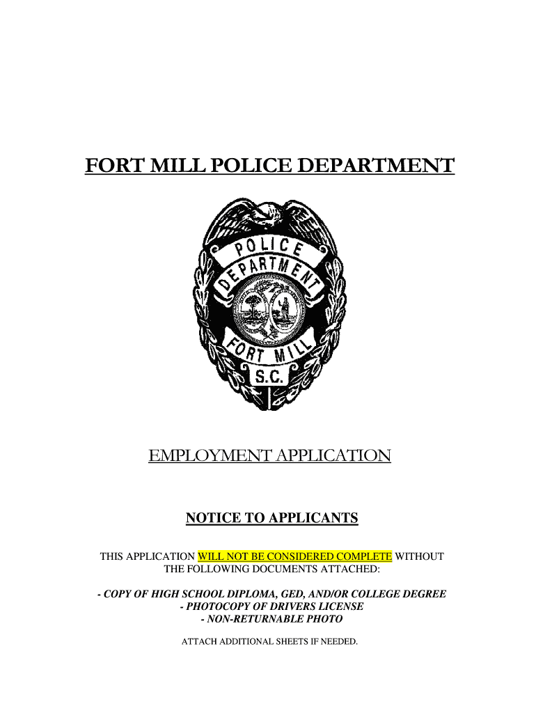Get And Sign Police Department Application  Fort Mill Form