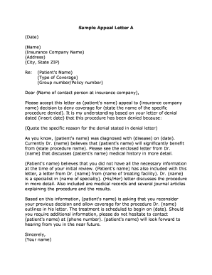 Sample Letter Of Appeal To Health Insurance Company Fill Out And Sign Printable Pdf Template Signnow