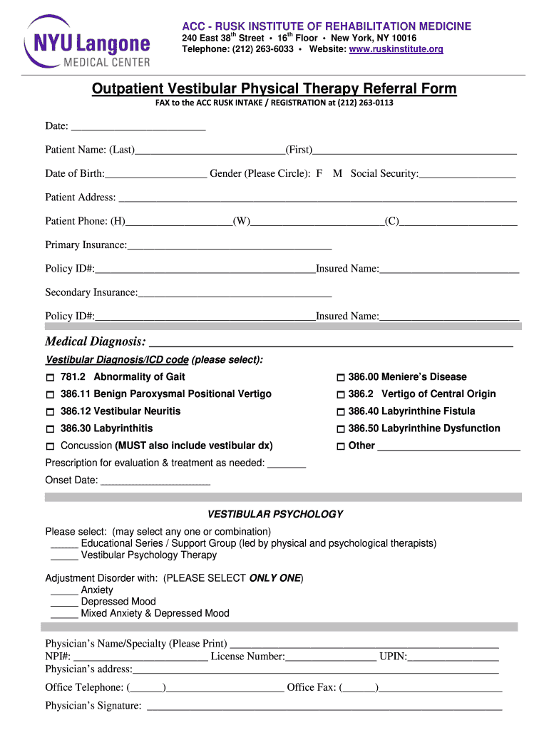 Get And Sign Vestibular Therapy Form