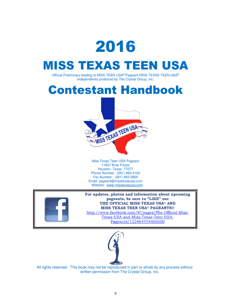 Get And Sign MISS TEXAS TEEN USA Form