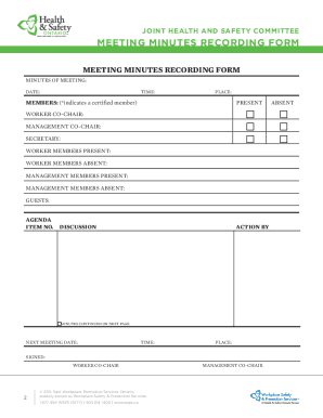 Get And Sign JHSC Meeting Minutes Recording Form - WSPS