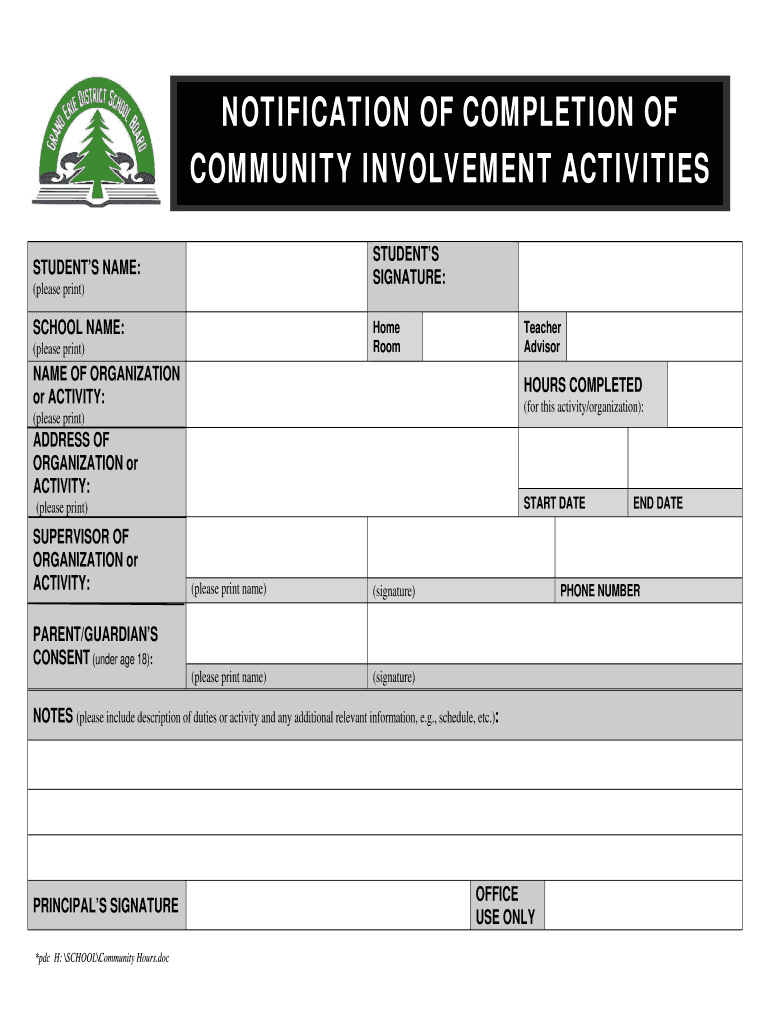 Get And Sign Community Hours Form