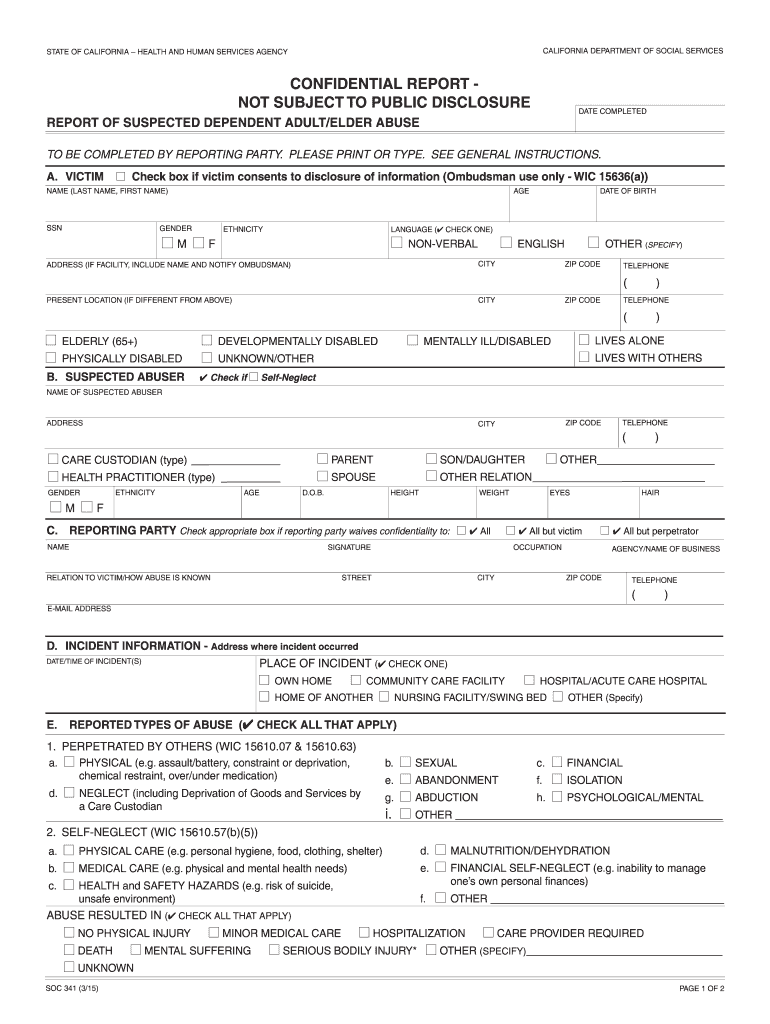 Get And Sign Soc 341 Form 2015-2021