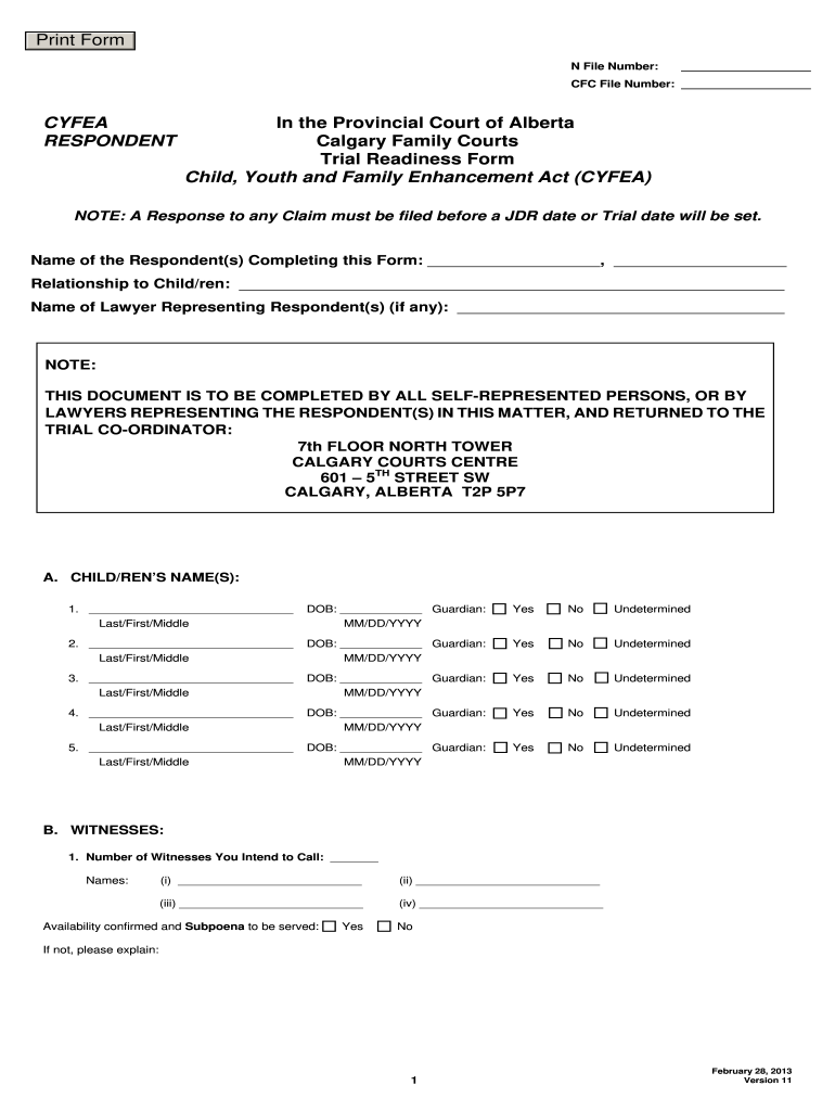 Get And Sign Trial Readiness Form Alberta 2013-2021